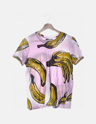 Camiseta rosa print plátanos