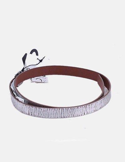 Cinturón marrón print plateado