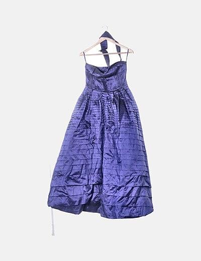 Vestido maxi azul irisado tirante multiposición