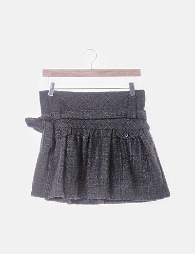 Falda de cuadros con detalle lazo