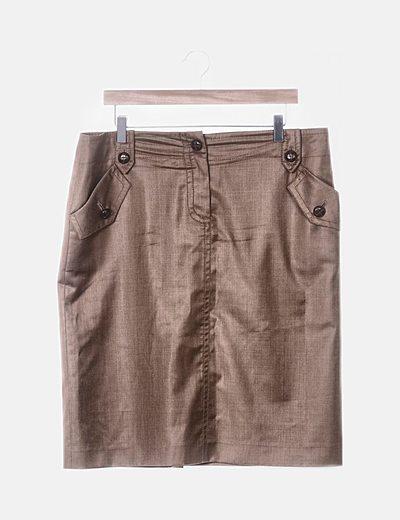 Falda marrón satinada
