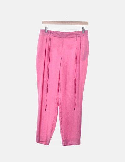 Pantalón baggy rosa cintura elástica