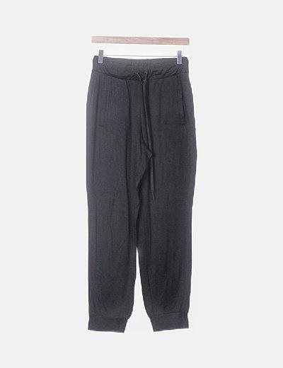 Pantalón baggy negro cintura elástica
