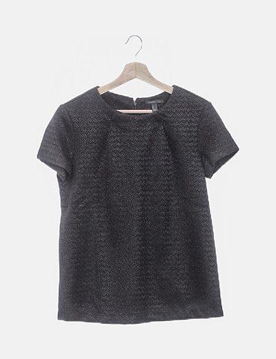 Blusa manga corta glitter negro