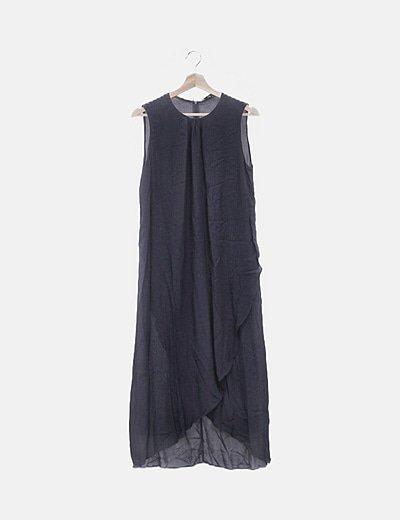 Vestido maxi azul marino manga sisa