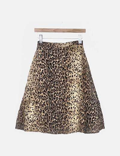Falda animal print con tul