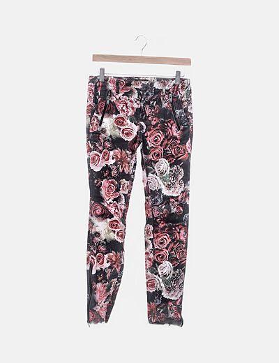 Pantalón denim floral