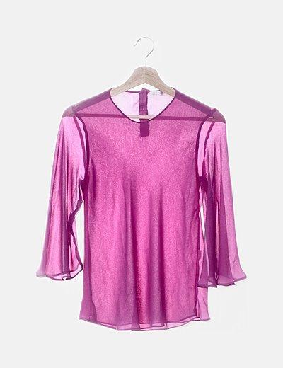 Blusa de gasa rosa con botones