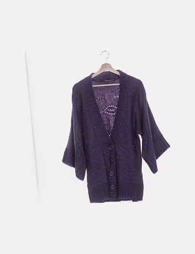 Cárdigan tricot morado