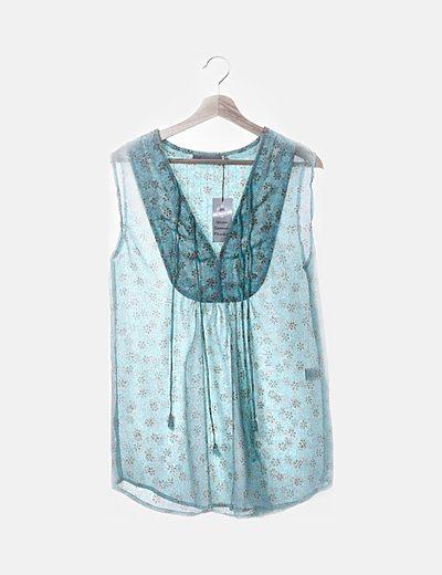 Blusa hippy turquesa
