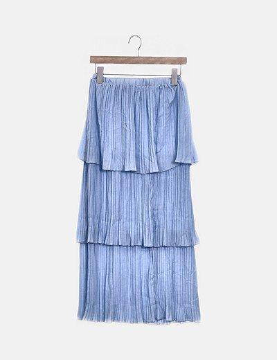 Falda maxi plisada volantes azul