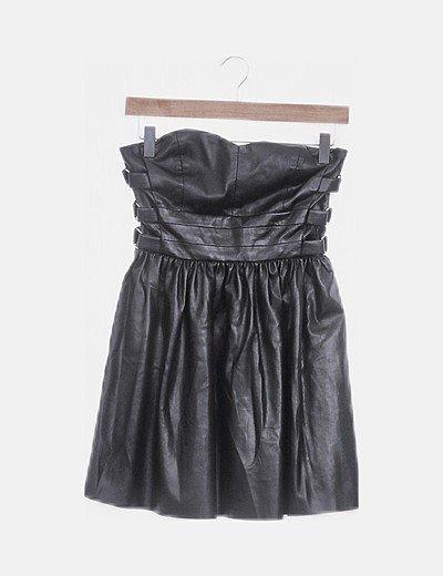 Vestido polipiel negro palabra de honor