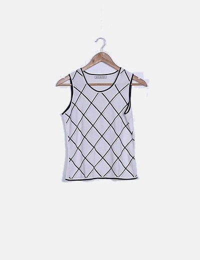 Camiseta tricot blanca rombos