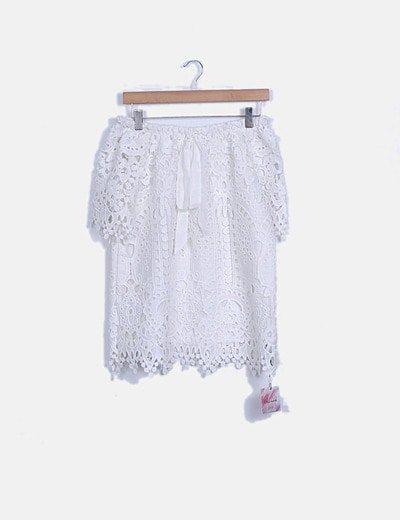Blusa crochet blanca escote barco