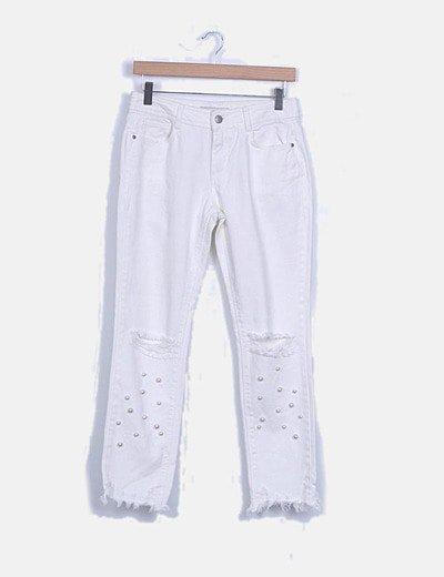 Jeans denim blanco con perlas