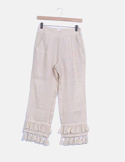 Pantalón culotte beige con flecos