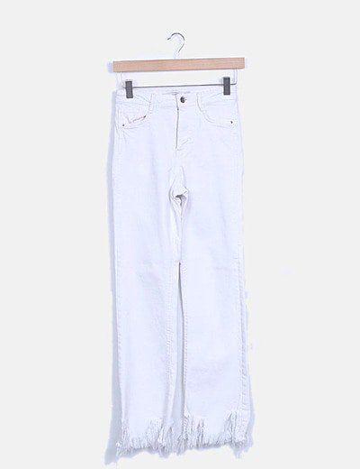 Jeans denim blanco desflecado