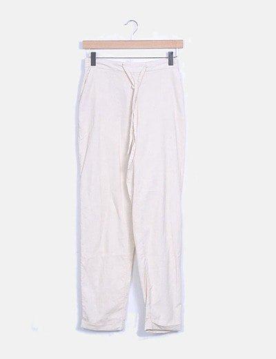 Pantalón baggy micro pana blanco