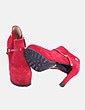 Botín de tacón rojo con plataforma Cavalinho