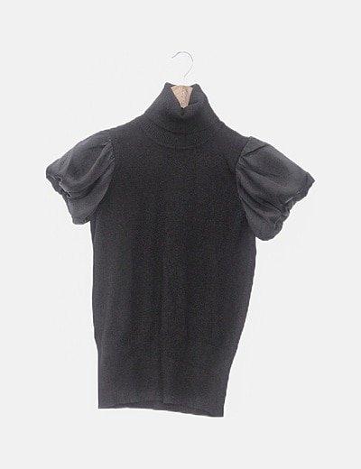 Camiseta negra tricot mangas satinadas