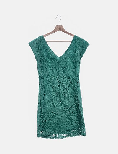 Vestido midi verde crochet