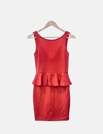 Vestido rojo peplum