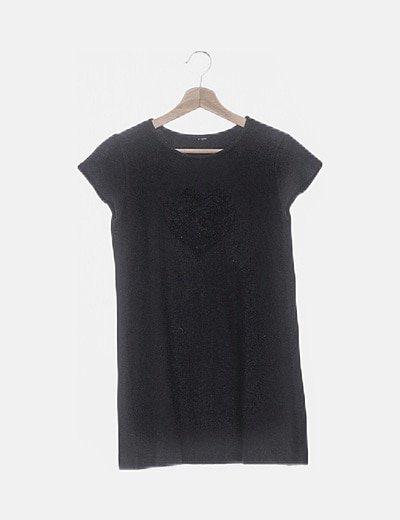 Camiseta larga tricot negra