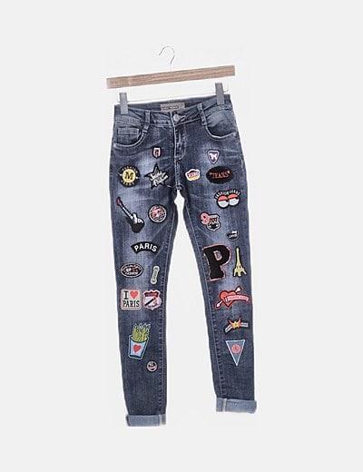 Pantalón denim patchwork