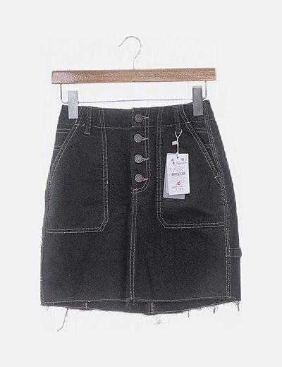 Falda denim negra bolsillos