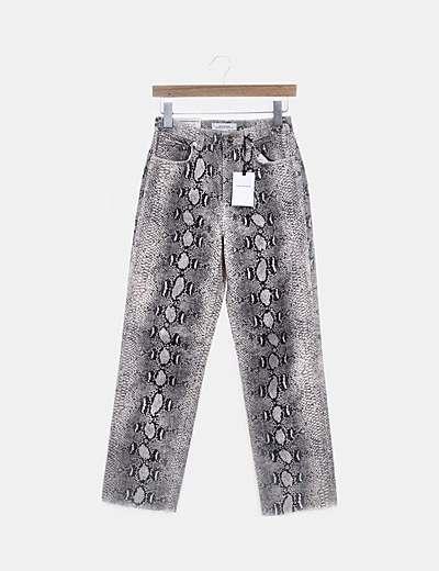 Jeans denim cropped serpiente
