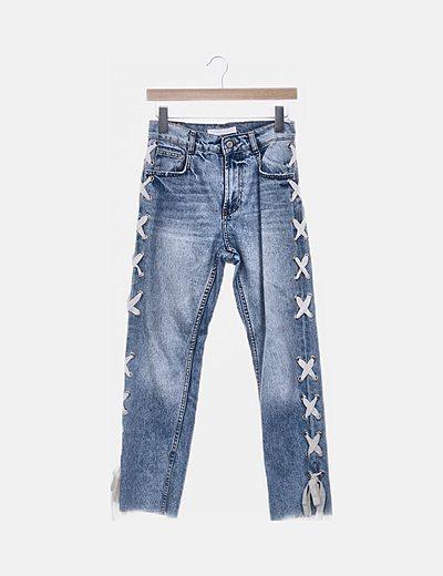 Jeans denim lace