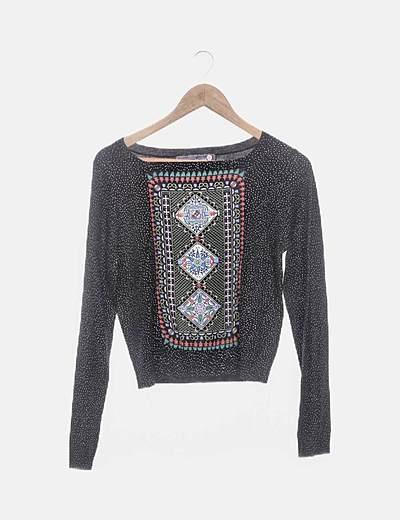 Suéter tricot negro moteado glitter