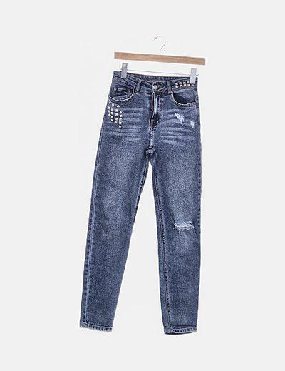 Jeans denim vintage con tachas