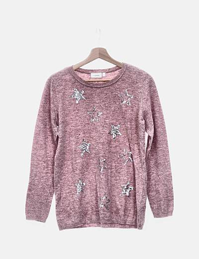 Jersey tricot rosa con estrellas