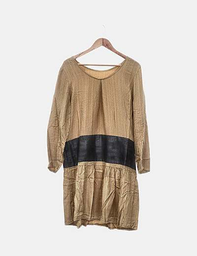 Vestido mostaza combinado