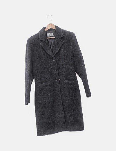 Abrigo largo negro jaspeado