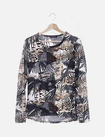 Camiseta tricot estampada