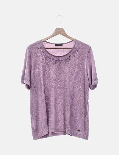 Camiseta de punto lila