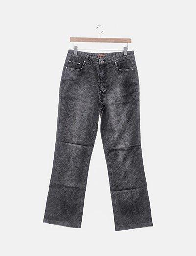 Pantalón denim recto gris oscuro