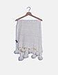 Bufanda blanca con pompones NoName