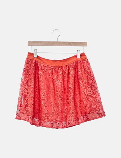 Falda naranja encaje