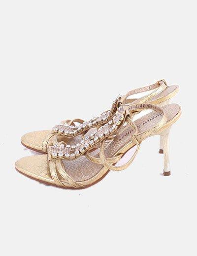 Sandalias tiras doradas con strass