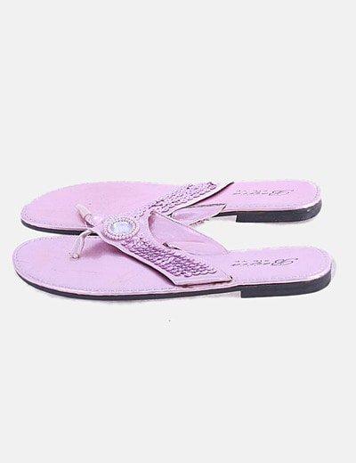 Sandalia plana rosa paillette
