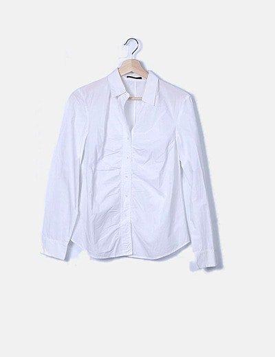 Camisa manga larga blanca con fruncido