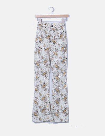 Jeans florales high waist campana