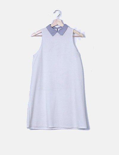 Vestido blanco texturizado cuello de rayas