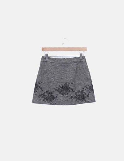 Mini falda cuadro galés gris