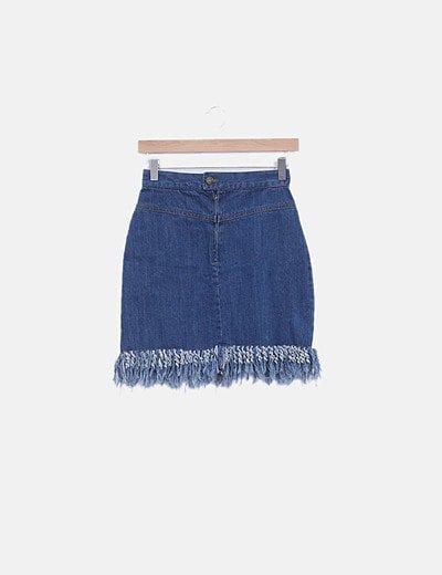 Mini falda denim desflecadaç