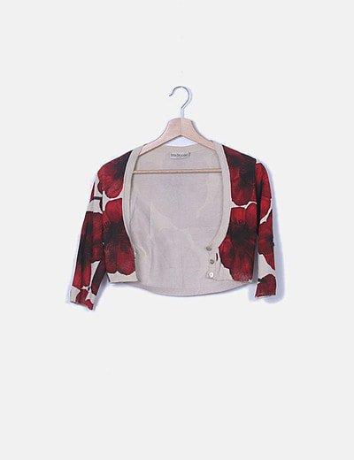 Torera tricot estampado floral rojo