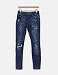 Jeans denim skinny con rotos Bershka